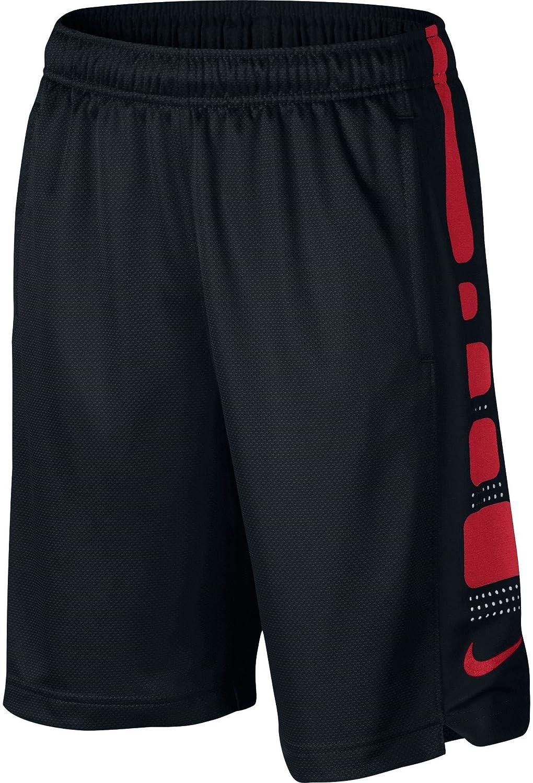Nike ビッグキッズ(ボーイズ)エリート ストライプ 8インチ バスケットボールショーツ B01A1IL9AU Medium|Black/University Red Black/University Red Medium