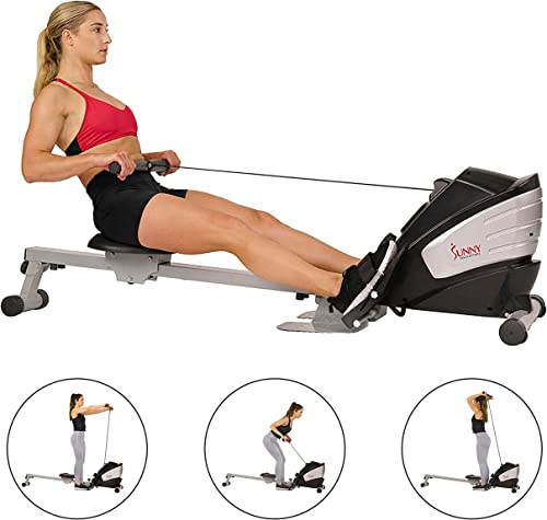 Sunny Health Fitness SF-RW5622 Dual Function Magnetic Rowing Machine Rower w LCD Monitor