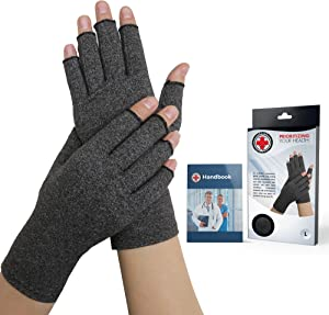 Doctor Developed Compression Arthritis Gloves - Doctor Written Handbook Included: Relieve Symptoms, Raynauds Disease & Carpal Tunnel (XL)