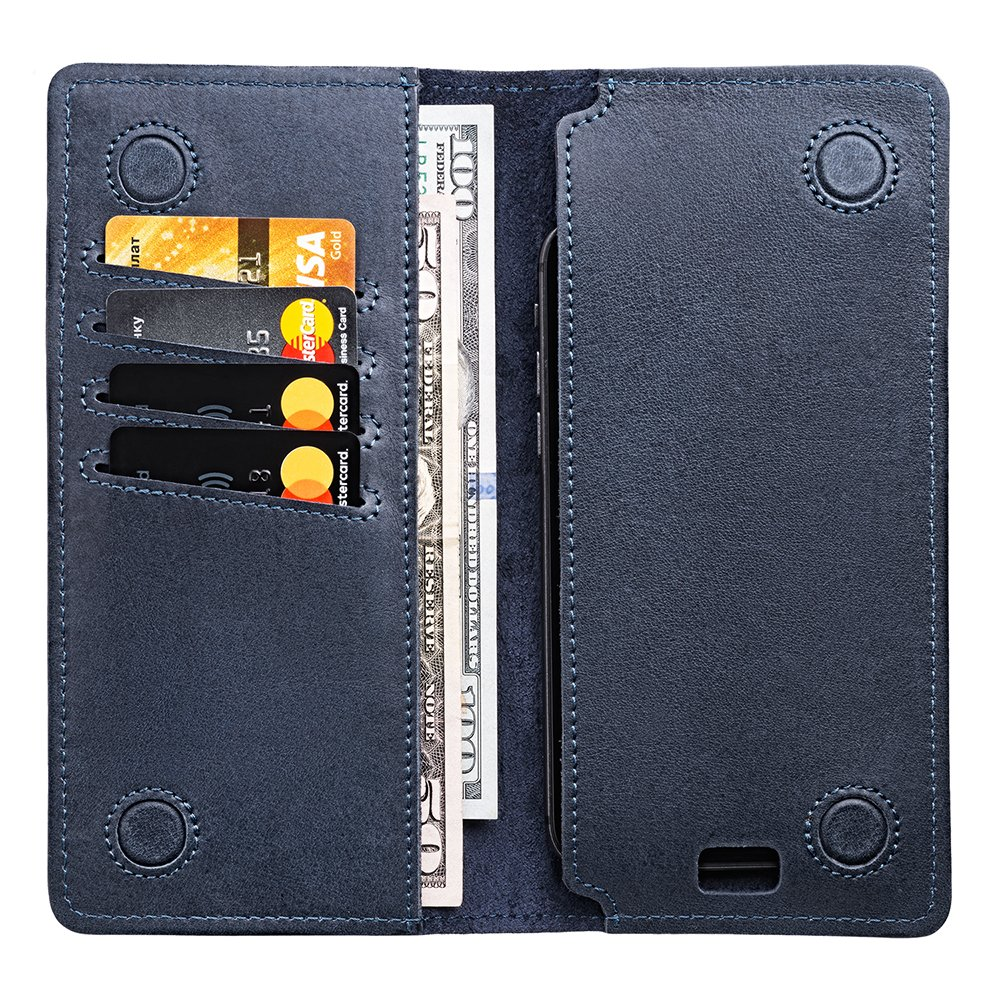 Delante Leather Travel Wallet - Phone Pocket - Long Bifold Wallet Men | Gift Box(Blue)