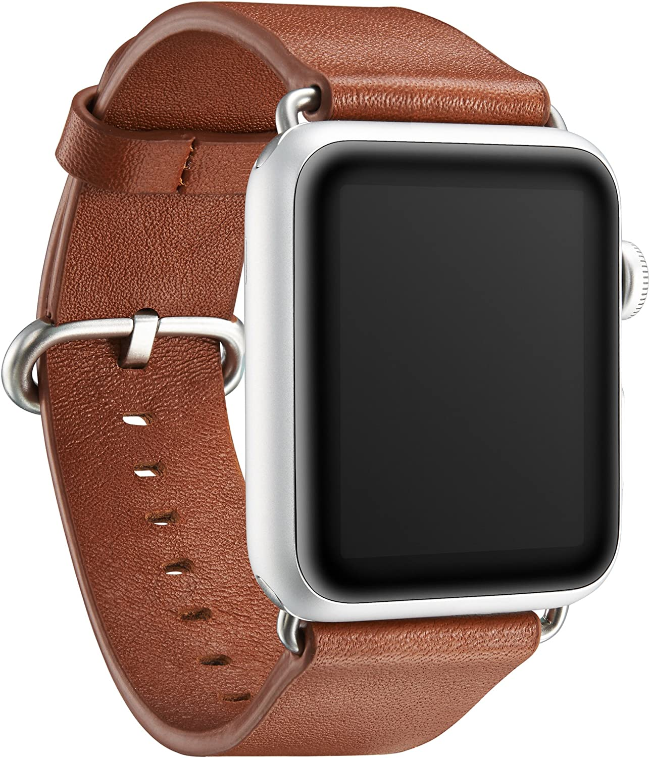 """KAVAJ genuine leather watch band """"Barcelona"""" compatible with Apple Watch Series 6 5 4 3 2 1, 42/44mm in cognac-brown. Genuine leather replacement watch strap with classic buckle"""