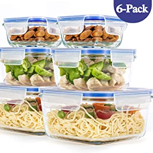 [ 6-Pack ] Glass Container for Food Storage with Airtight Lids, BPA Free, Square Meal Prep Containers