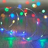 20 MicroLED multicolore a pile su cavo argento di Lights4fun
