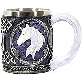 Black and White Purple Celtic Mug with White Unicorn Head by Bellaa