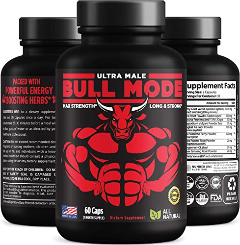 Bull Mode Premium Male Enhancing Pills 9 Potent Ingredients – Helps Increase Muscle Size, Strength, Stamina, Energy and Endurance. All Natural Male Formula, Made in USA, 60 Caps