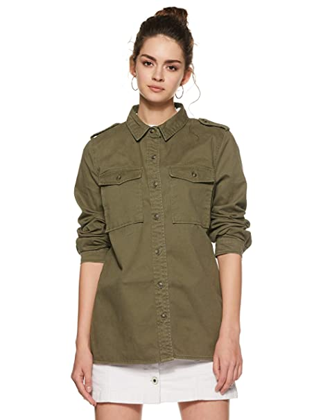 info for 9ba44 d8404 Forever 21 Women s Military Jacket Jacket 251614, Small, Olive  Amazon.in   Clothing   Accessories