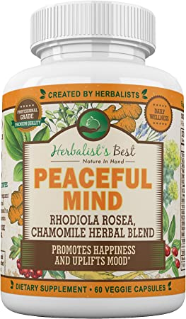 Peaceful Mind-Anti-Anxiety Stress Relief Supplement Builds Zen Alpha Brain Natural Calm by Herbalist's Best   Adrenal Support   Rhodiola Turmeric American Ginseng Ginger Chamomile Black Cohosh Jujube