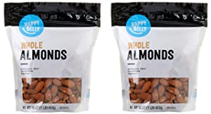 Amazon Brand - Happy Belly Whole Raw Almonds, 16 Ounce, Pack of 2