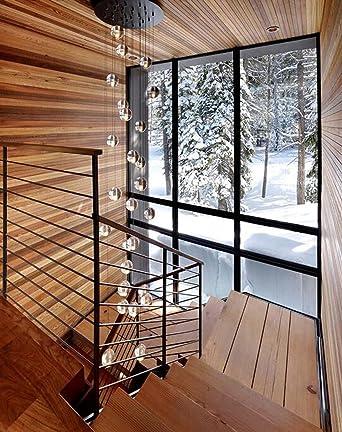 Phube Lighting LED Meteor Shower Chandelier Light Fixtures Stairwell  Chandelier Modern Foyer DIY Crystal Chandelier (