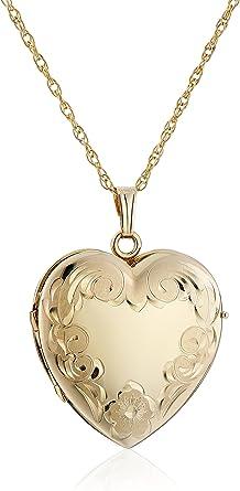 14K Yellow-Design-Engraved Heart Locket