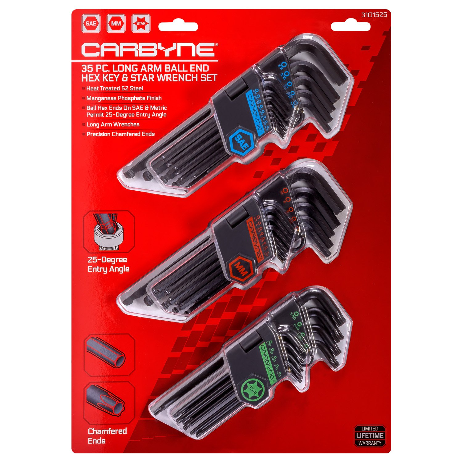 CARBYNE 35 Piece Long Arm Ball End Hex Key Wrench Set, Inch/Metric/Star, S2 Steel by Carbyne (Image #1)