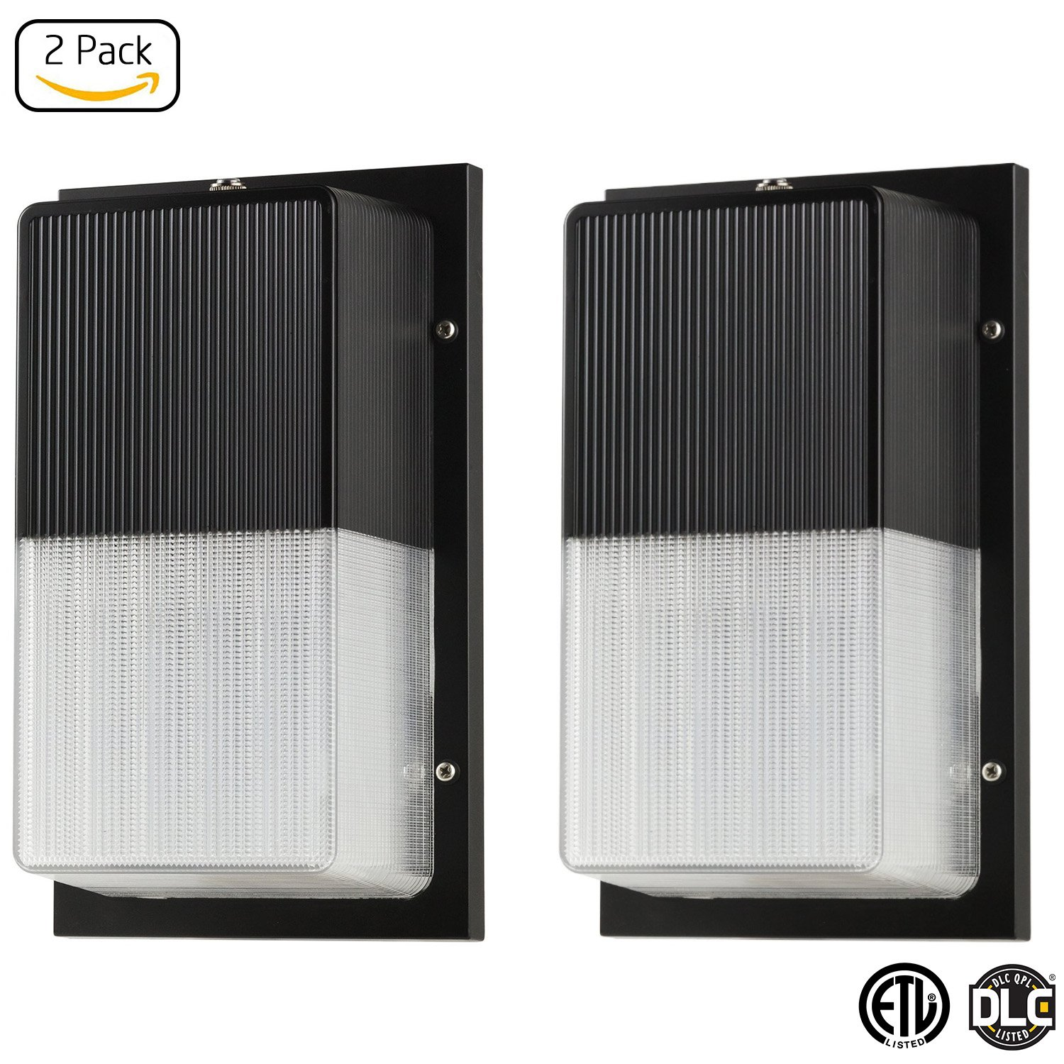 LB75224-2 15W LED Wall Pack Fixture, 100W HPS/HID Replacement, 5000K Daylight, 1050 Lumens, Dusk to Dawn Photocell, Waterproof and Outdoor Rated, ETL & DLC Listed (2-PACK)