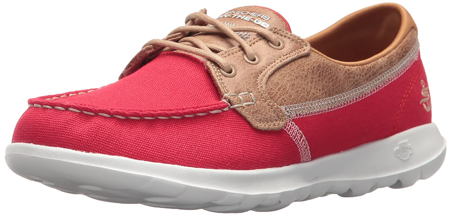 Skechers Women's Go Walk Lite-15430 Boat Shoe B072ND1LM1 5 B(M) US|Red