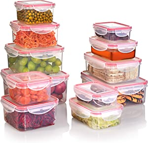 SEALCO Food Storage Containers with Lids – Reusable Plastic Containers – BPA-Free, Stackable, Microwave, Dishwasher, Freezer Safe – Airtight – 12 Piece Set