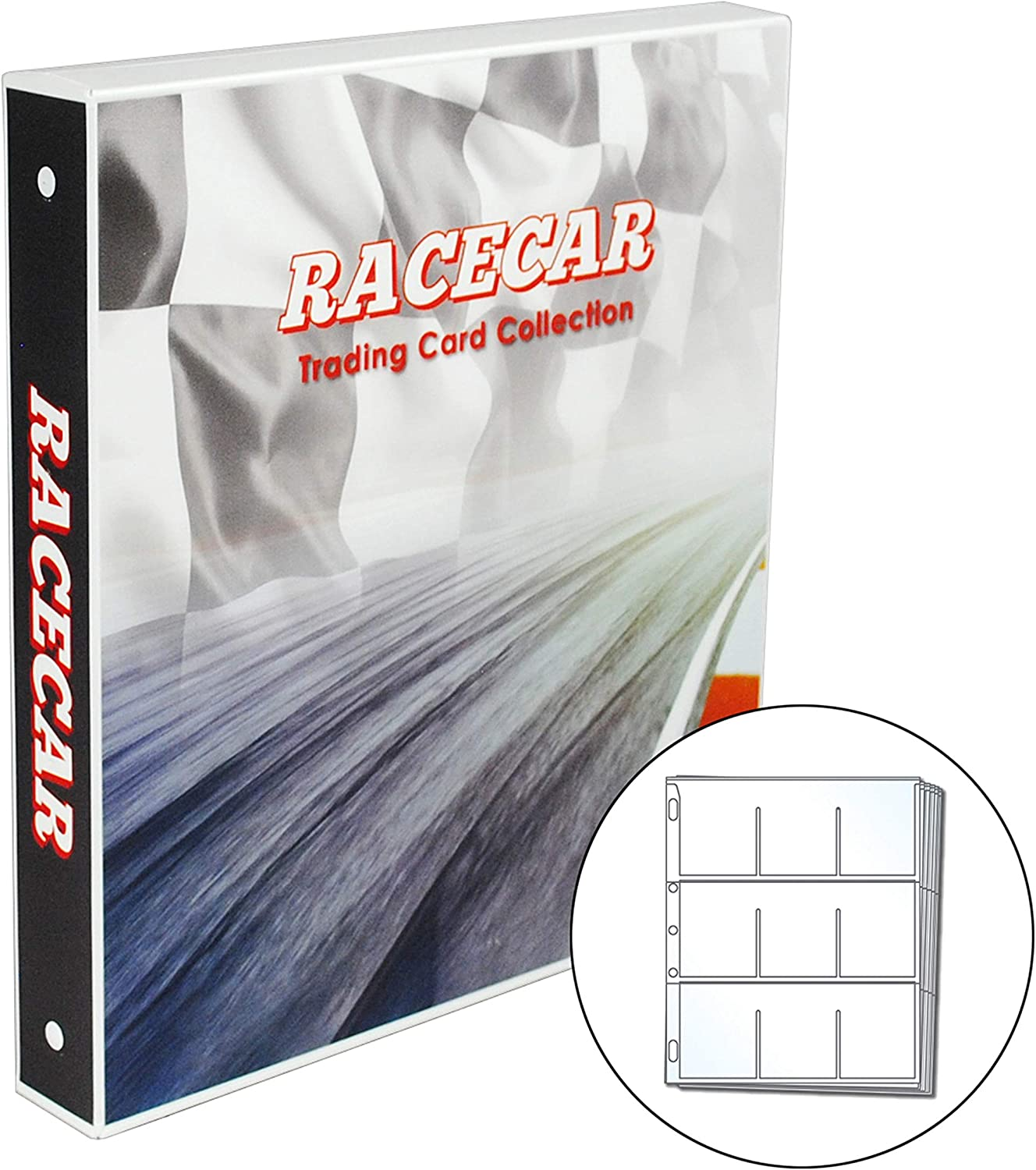 450 Card Capacity Racetrack UniKeep Nascar Themed Collectible Card Storage Binder