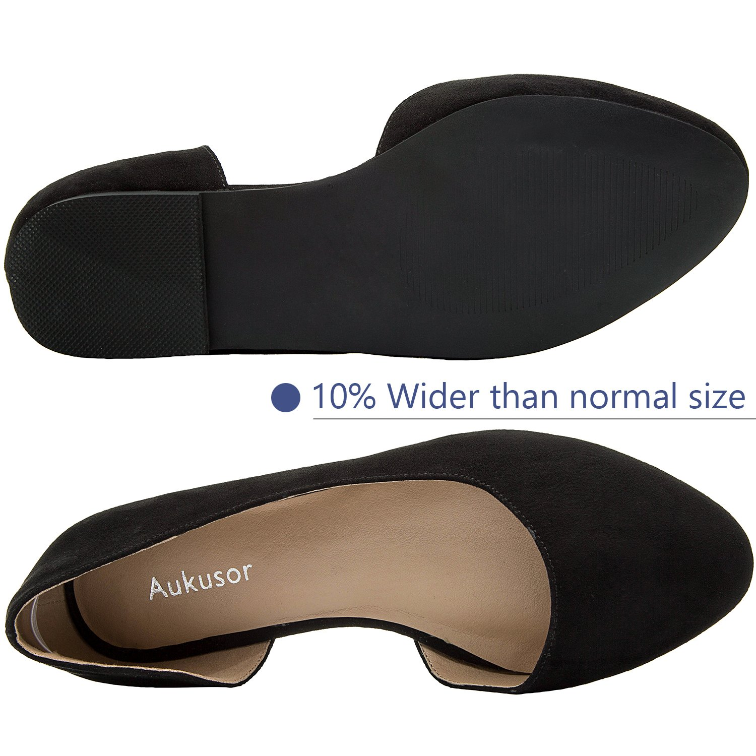 Aukusor Women's Wide Width Ballet Flat - Comfortable Slip On Closed Toe Casual Shoes.(Black 180401, 10.5WW) by Aukusor (Image #3)