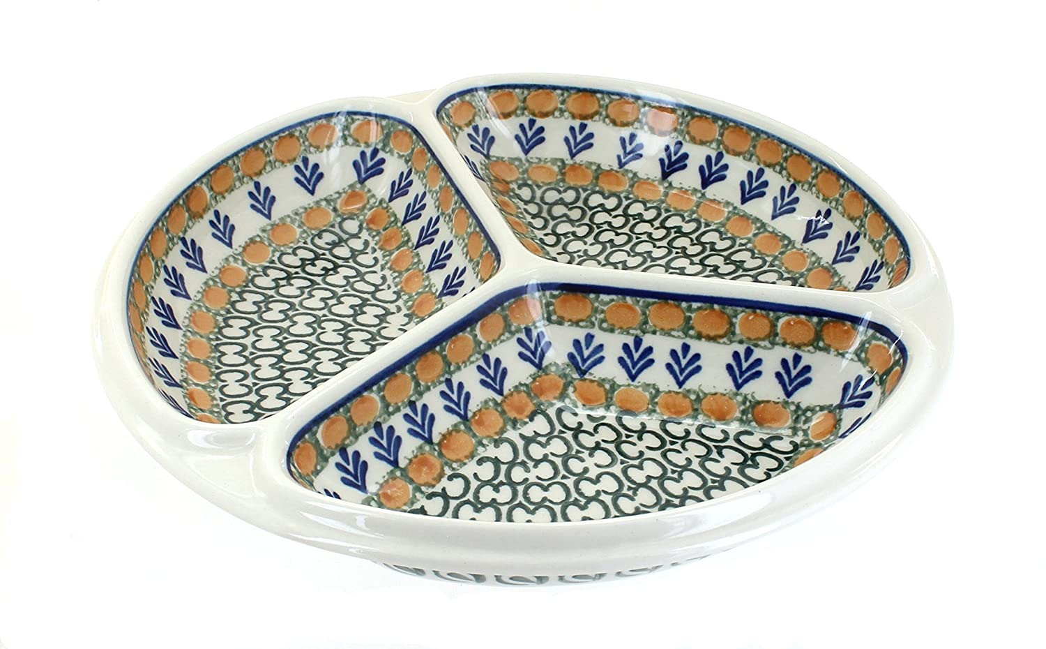 Polish Pottery Herb Garden Three Part Divided Dish