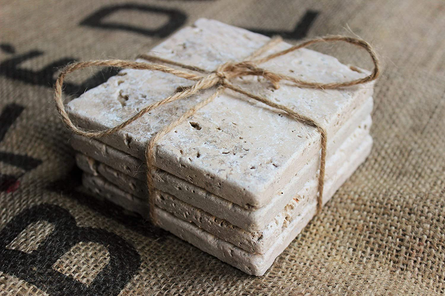 Set of 4 Absorbent Tile Coasters Plain Travertine Stone Drink Coasters