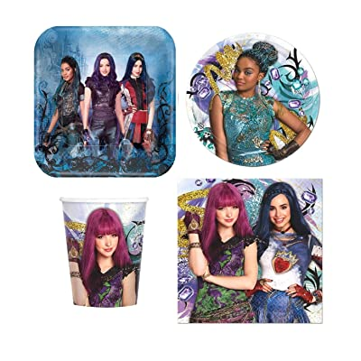 Four-seasonstore Disney Descendants Value Pack Birthday Party for 8 Guests ( Plates, Cups, Napkins): Toys & Games