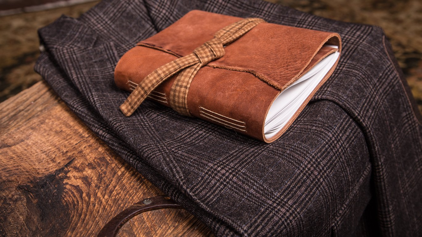 Tan Leather Journal with Brown-Yellow Plaid | Handmade in the USA