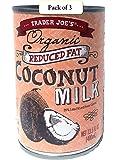 Trader Joe's Organic Coconut Milk, Reduced Fat, 13.5oz / 400 ml (Pack of 3)