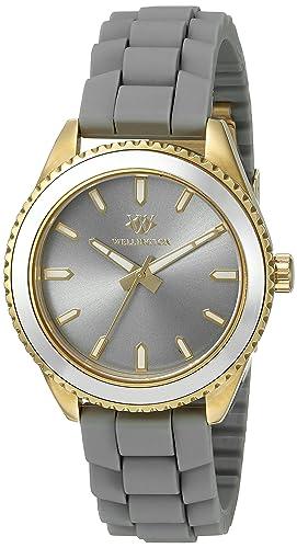 Wellington WN508-290B - Reloj analógico de cuarzo para mujer con correa de silicona, color gris: Amazon.es: Relojes