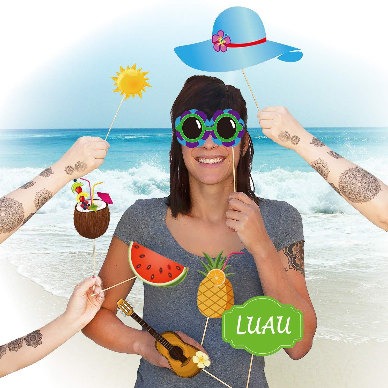 Oblique Unique/® 35 Fotorequisiten Foto Props Urlaub Hawaii Tropical Sommer Party Feier Fotoaccessoires
