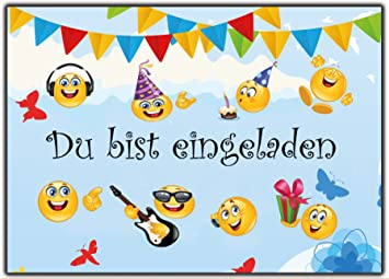 Perfekt Set Emoji Einladungskarten Kindergeburtstag Sommer Fest Jungen Mädchen  Smiley Garten Party 12 Stück Kinder