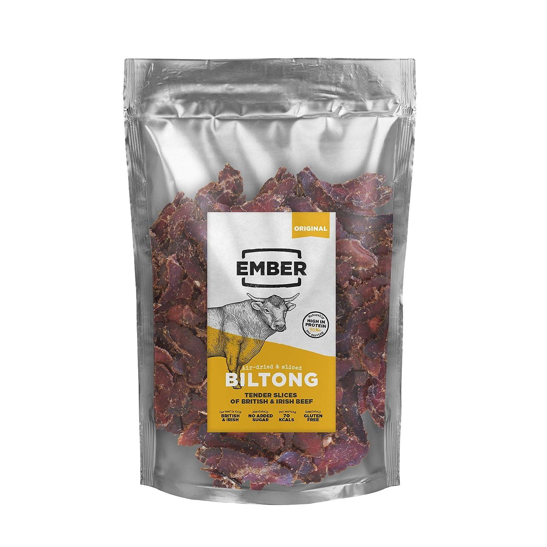 Ember Biltong 500g - Carne Secca Beef Jerky Originale - Snack Proteico, Senza Zuccheri Aggiunti - Gusto Original (1x500g)