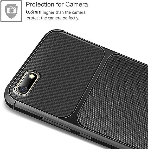 AROYI carcasa Huawei Y5/2018/ Y5/Prime 2018 Protector de Pantalla Cristal Templado Huawei Y5/2018/Carcasa TPU silicona Case shock-absorption Anti-Scratch Back Bumper para Huawei Y5/2018 negro