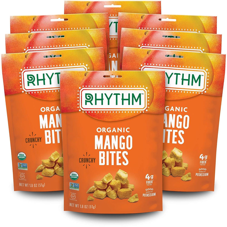 Rhythm Superfoods Crunchy Mango Bites, Organic & Non-GMO, 1.8 Oz (Pack Of 8), Vegan/Gluten-Free Sweet Fruit Snacks