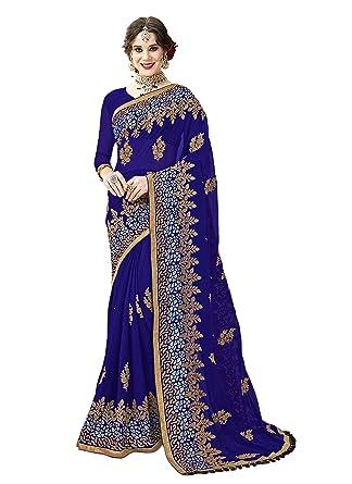 e618462e4f9532 Amazon.com: Indian Bollywood Designer Ethnic Wedding Party Wear Georgette  Saree Sari S6254 Royal Blue: Clothing