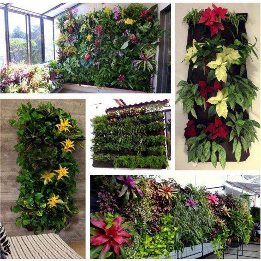 18 Taschen gr/üne Wand Pflanztasche Tasche vertikale Wand Pflanzgef/ä/ß Garten Balkon Pflanze Wachsen Tasche Hylotele Pflanztaschen