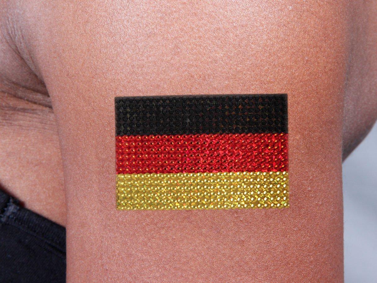 Alsino Strass Tattoo WM Fanartikel Deutschland LG8520 Fahne Flagge K/örper Tatto selbstklebend Body-Tattoo Party Glitzeraufkleber