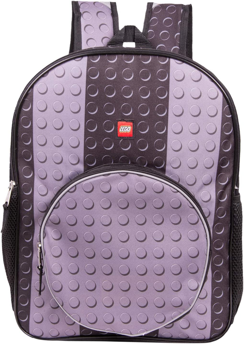 LEGO Classic Black Brick Backpack - Lego Backpack With Zippered Front Pocket (Black)