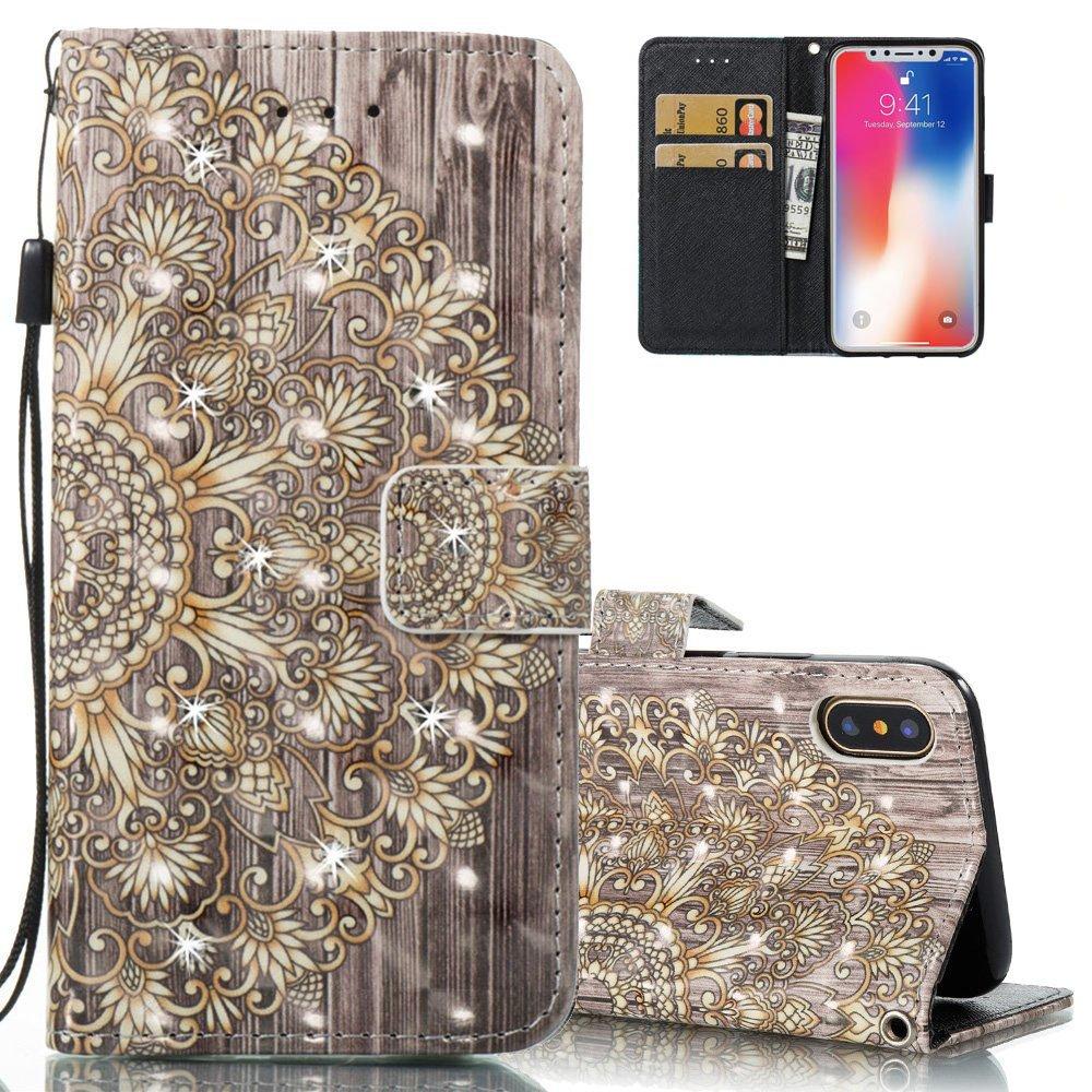 EMAXELERS iPhone X H/ülle Slim Flip Schale Brieftasche Standfunktion und Karte Halter Etui Kartenf/ächer Wallet Tasche Etui f/ür iPhone X 5.8 Zoll,3D Diamond Half Gold Sunflower