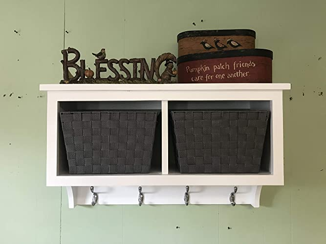 Amazon Basket Cubby Shelf With Coat Hooks And Baskets Entryway New Wall Coat Rack With Baskets