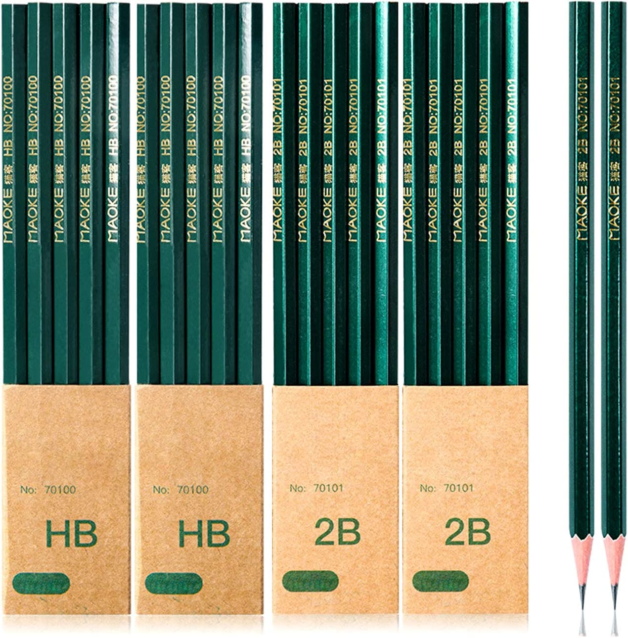 LOANPE 20-Count Wooden Lead Pencils, HB 2B Wood Cased Graphite Pencils, Hexagonal graphite drawing pencil Smooth write for Exams, School, Office, Drawing and Sketching