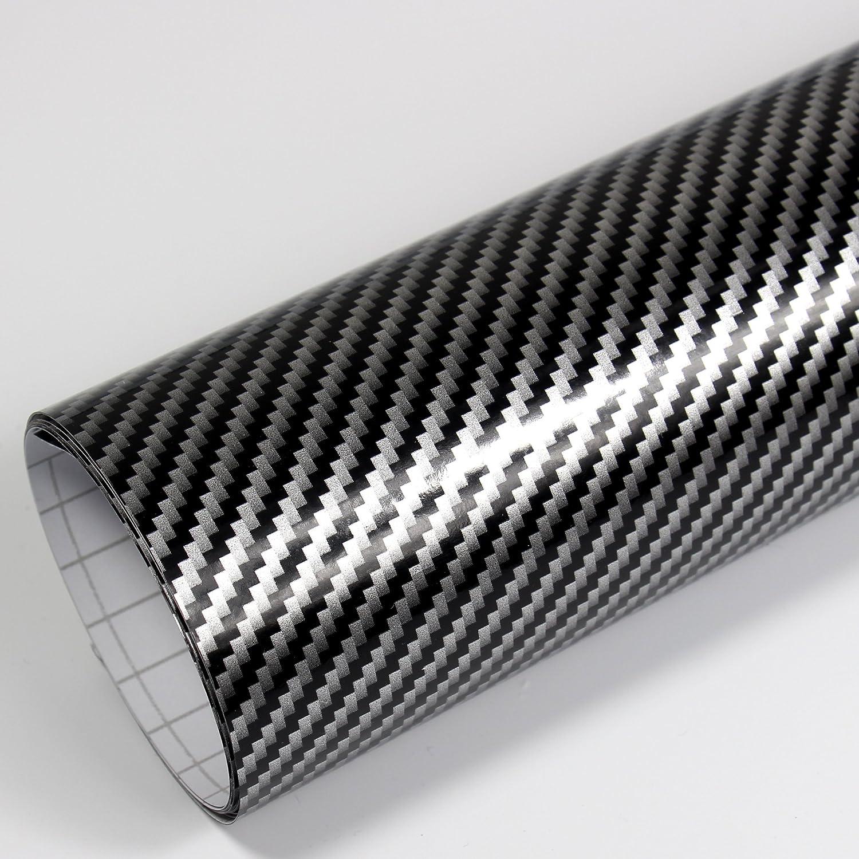 Rapid Teck 9 47 M Premium 2d Carbon Silber Schwarz 50cm X 1 52m Auto Folie Blasenfrei Mit Luftkanälen Für Auto Folierung Und 3d Bekleben In Matt Glanz Und Carbon Autofolie Küche