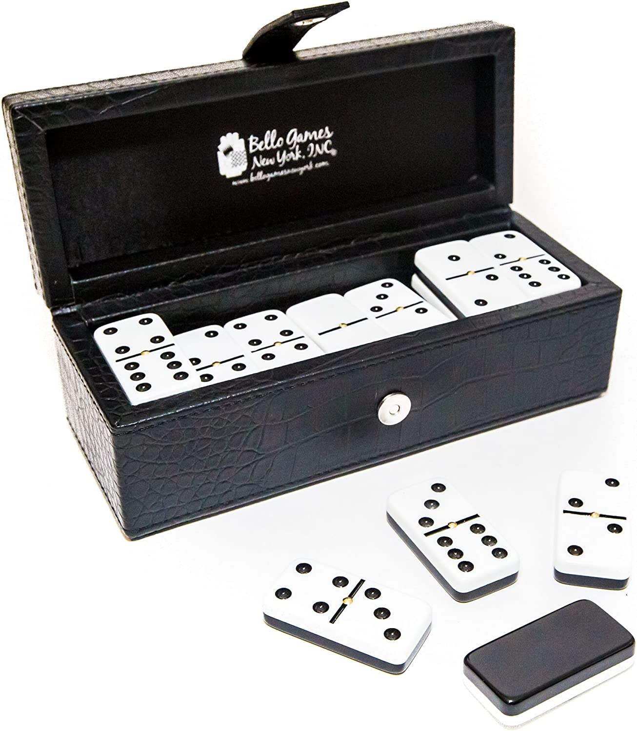 Garment District Double Six Professional Jumbo Size Two Tone Dominoes Set with Spinners Bello Games New York Inc.