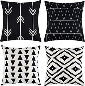Tosewever Set of 4 Decorative Geometric 18 x 18 Inches Throw Pillow Covers - Modern Pattern Linen Square Pillow Cushion Case for Sofa Couch Bed Home Outdoor Car (18