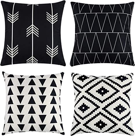 Amazon Com Tosewever Set Of 4 Decorative Geometric 18 X 18 Inches Throw Pillow Covers Modern Pattern Linen Square Pillow Cushion Case For Sofa Couch Bed Home Outdoor Car 18 X 18
