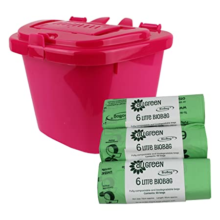 Food Waste Bin/&150x6L Compostable Bags Red Metal Compost Caddy