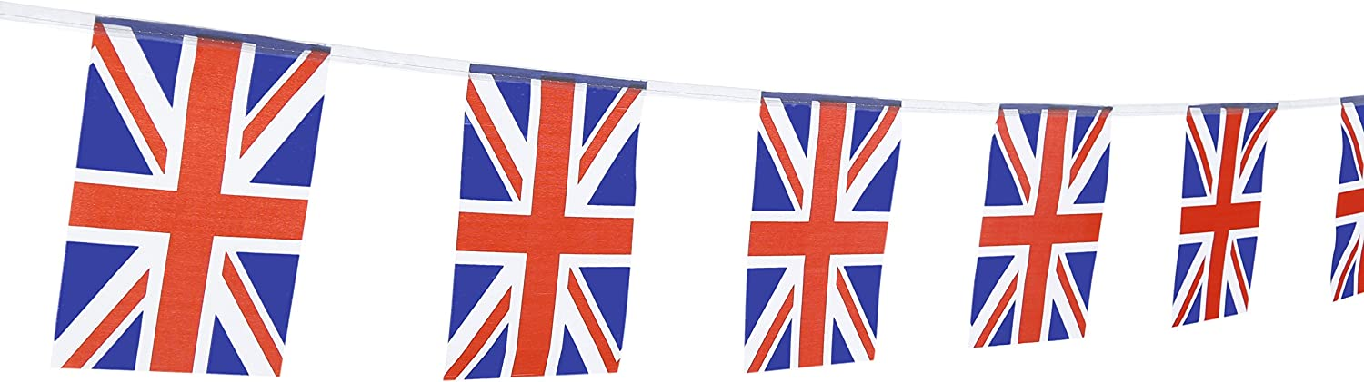 """TSMD 100 Feet United Kingdom UK Flag 76Pcs Indoor/Outdoor British Union Jack National Country Flags,Party Decorations Supplies for Grand Opening,Sports Clubs,International Festival,(8.2"""" x 5.5'')"""