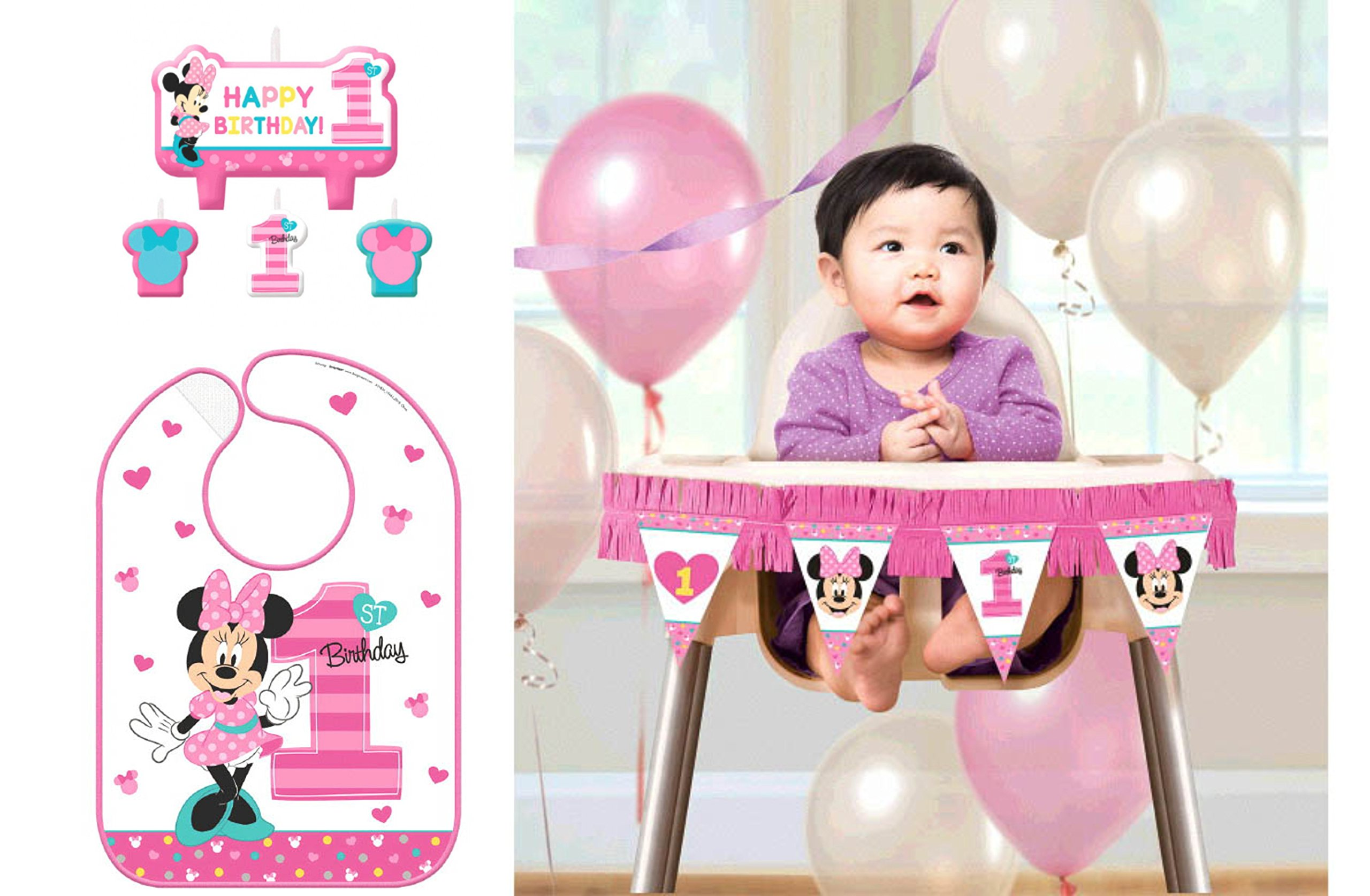 1st Birthday Minnie Mouse Fun To Be One First Birthday Party Supply Decorations Pack Bundle Includes Minnie Mouse Candles, High Chair Decorating Kit, 1st Birthday Bib!