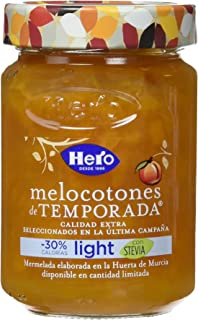 Hero Temporada Light Mermelada Melocotón, Frasco de Cristal - 335 gr - [Pack de