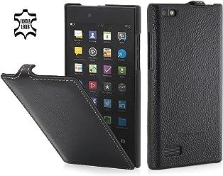StilGut UltraSlim Case, Custodia in Pelle per Blackberry Leap, Nero