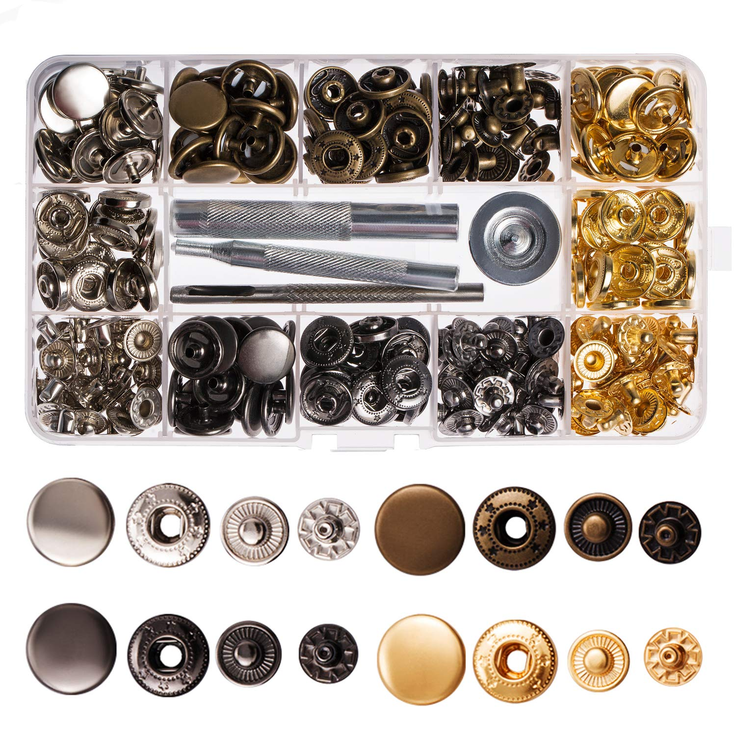 Lynda 80 Sets Metal Snap Button, 4 Colors Snap Fasteners with 4 Pieces Fixing Tools,Used in Leather Craft, DIY Craft, Overalls, Jacket and Jeans,12.5mm in Diameter … 12.5mm in Diameter …