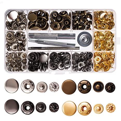 Lynda 80 Sets Metal Snap Button, 4 Colors Snap Fasteners with 4 Pieces  Fixing Tools,Used in Leather Craft, DIY Craft, Overalls, Jacket and