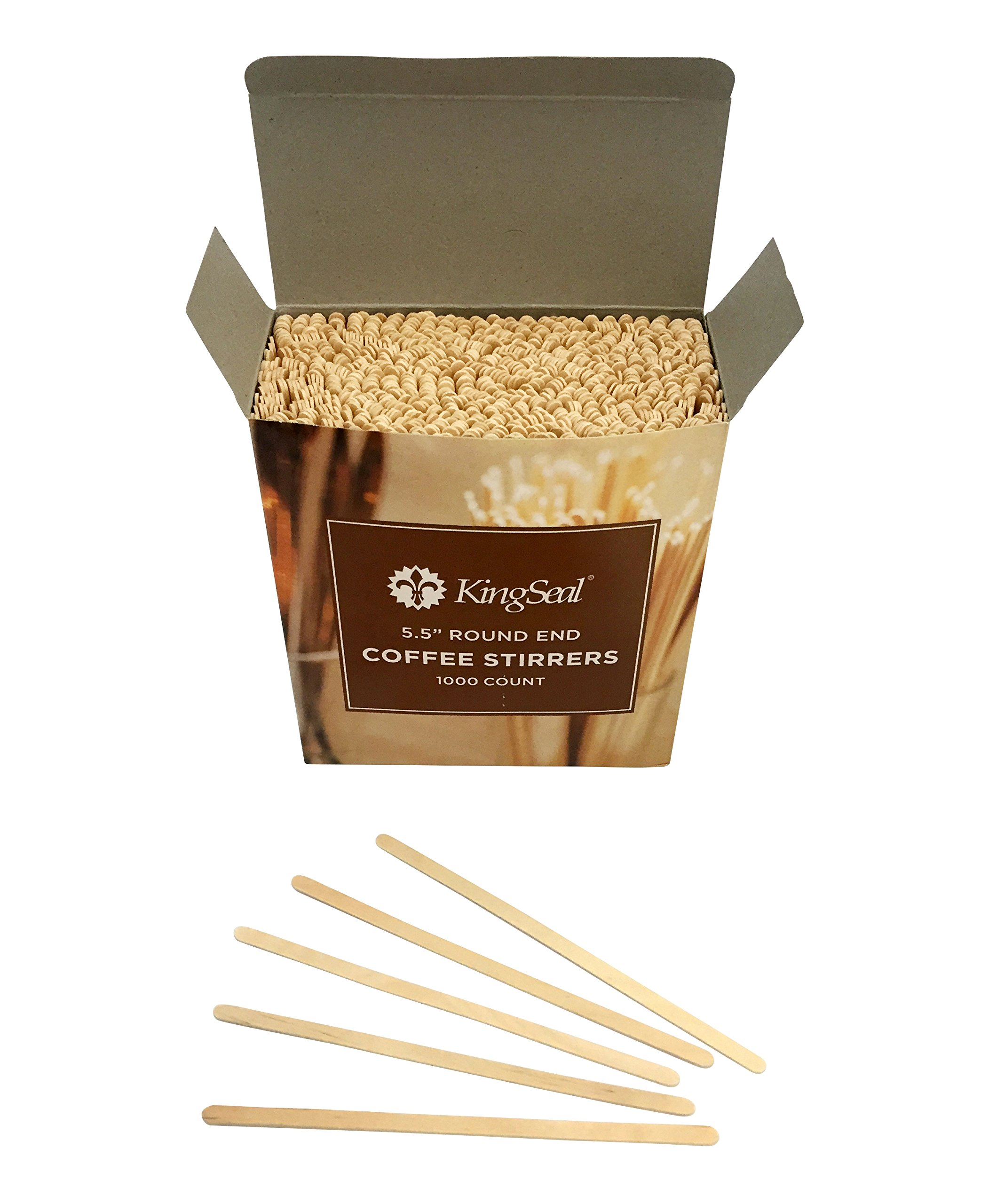 KingSeal Natural Birch Wood Coffee Beverage Stirrers - 5.5 Inches, Round End, 10 Packs of 1000 each per Case by KingSeal (Image #4)